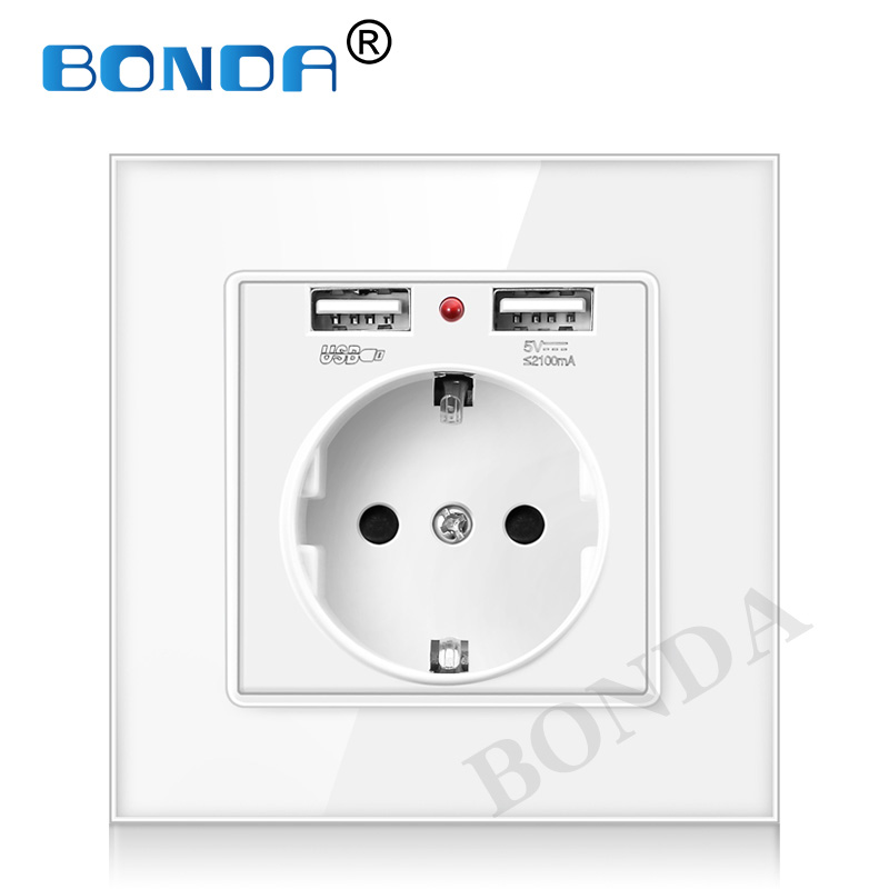 EU Wall Power Plug Socket With Usb Outlet, Glass 2A Dual USB Charger Plug Wall Outlet, 16A 2100ma Electrical Wall Power Socket