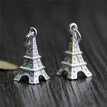 Real 925 Sterling Silver Accessories Eiffel Tower Charm Pendant for DIY Bracelet Pendant Necklace Fine Jewelry  Making A0220 stylish eiffel tower pendant necklace for women