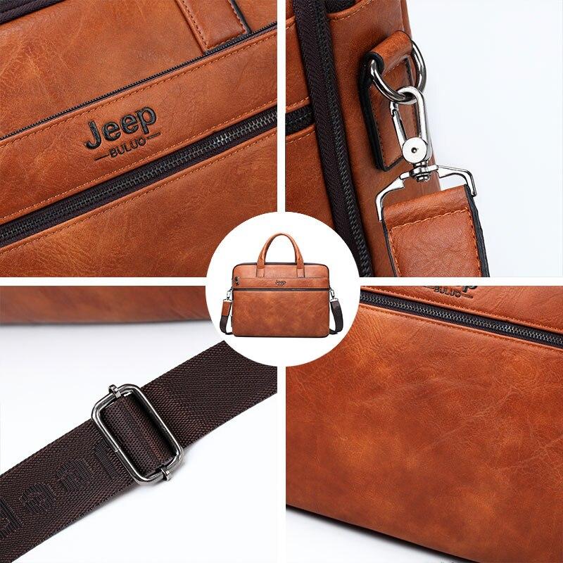 JEEP BULUO famosa marca 2 uds conjunto de bolsos de maletín para hombres bolsos de mano para hombres de negocios de moda bolsa de mensajero 14 'Laptop bolsa 3105/8888 - 3