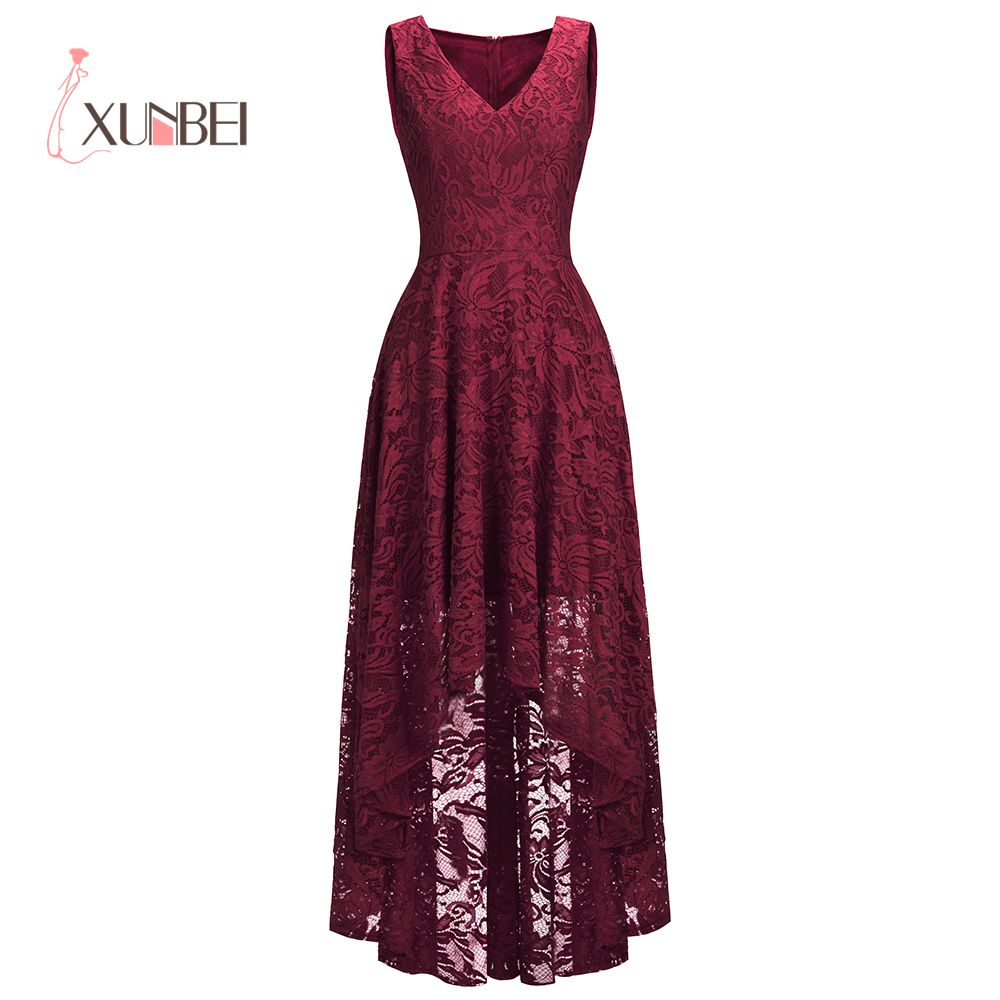 Elegant Cheap Price Hi-low Burgundy Lace Evening Dresses 2019 Sexy V Neck Formal Prom Dresses Party Gown