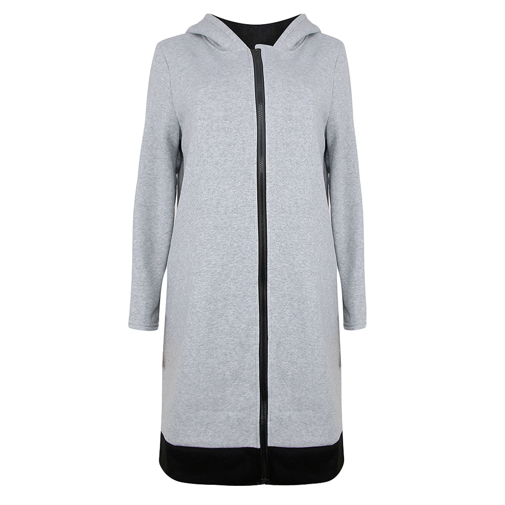 Women Long Hooded Sweatshirts Coat Contrast Casual Pockets Zipper Outerwear Hoodies Jacket Women Autumn Winter Zipper Clothes