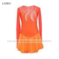 Figure Skating Dress Women's Girls' Ice Skating Dress Orange High elastic mianliao Flame Style Exquisite diamond decoration