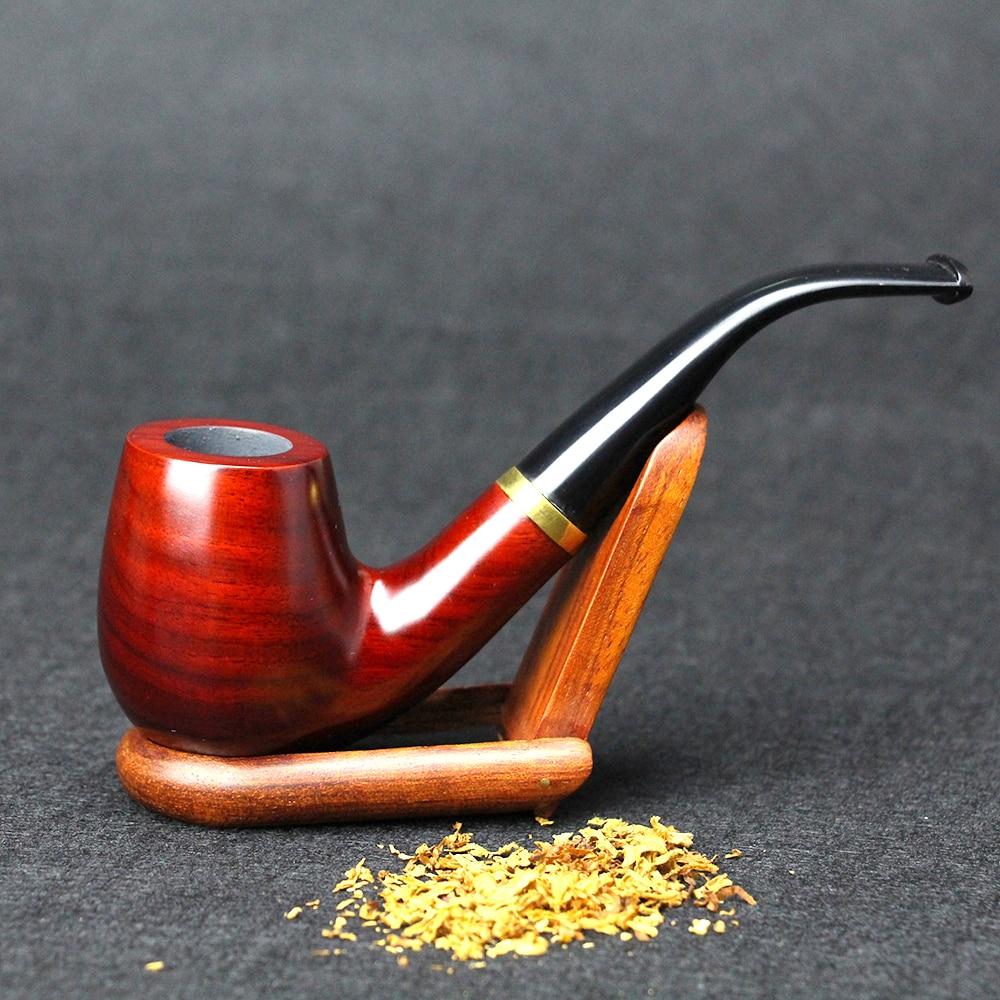 10 rīku komplekts sarkanā sandala koka caurulīte ar klasisku izliektu smēķēšanas cauruli 9mm filtra metāla gredzena tabakas cauruļu koka caurule FT-653