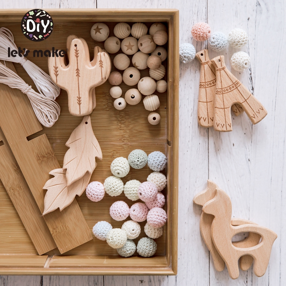Let's Make 10Pcs Baby Toys Wooden Teether Baby Rattle Accessories Cactus Alpaca Leaves Straw Crib Holder For Kids Baby Teether