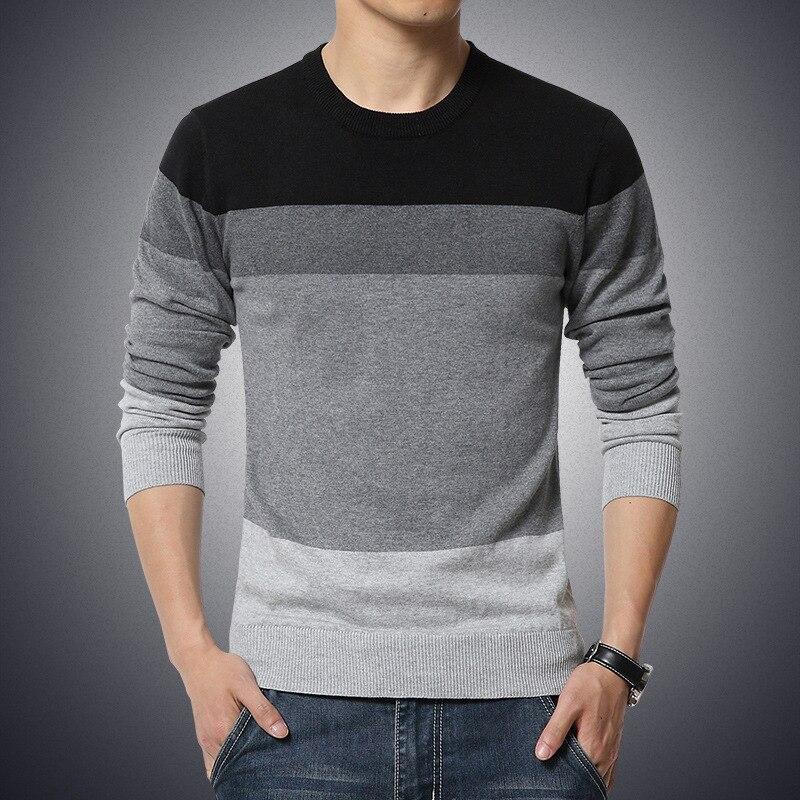 2019 Outono Camisola dos homens Casuais O Pescoço Listrado Slim Fit Knittwear Camisolas Dos Homens Pullovers Pullover Homens Puxar Homme M-3XL