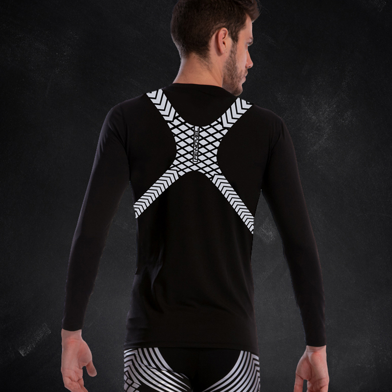 Compression Tights Men Elasticity Sport T Shirts 2019 New Polyester Long Sleeve Compression Tshirts Gym Fitness Run Tights Male
