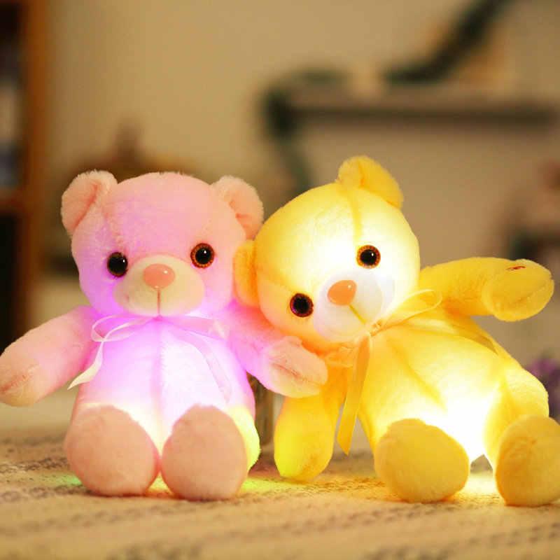 Yesfeier 32 см Красочный светящийся медведь плюшевая игрушка мигающий свет светящийся Медведь кукла детский подарок на день рождения мягкие плюшевые детские игрушки