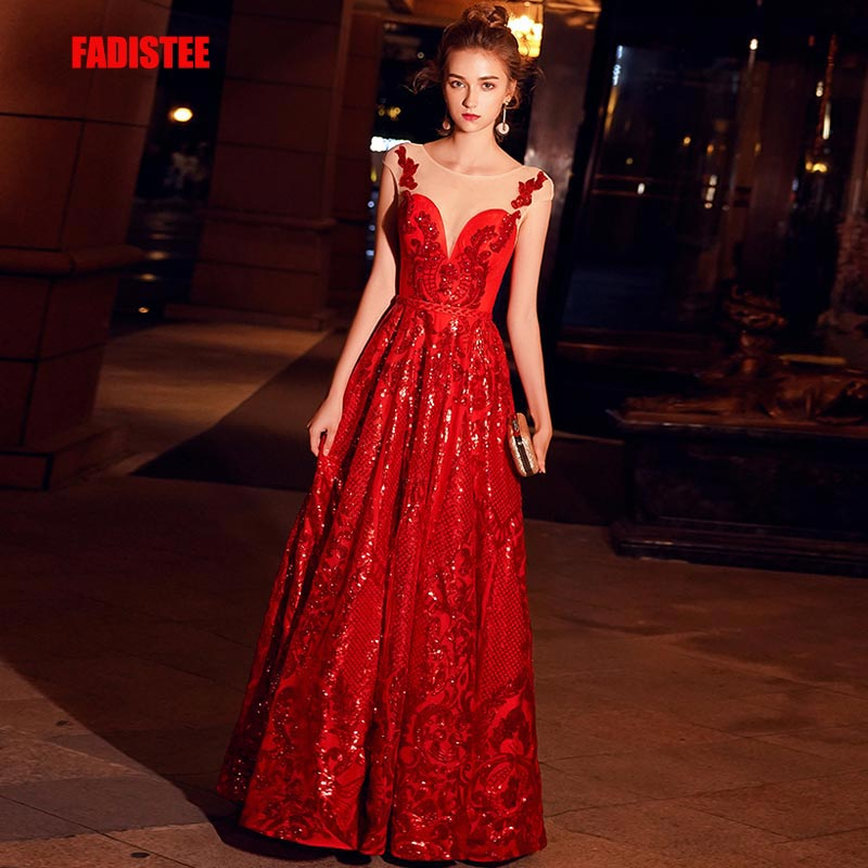 FADISTEE New Arrival Evening Elegant Prom Dresses Vestido De Festa Gown Robe De Soiree Lace A-line Scoop Neck Sleeveless Red