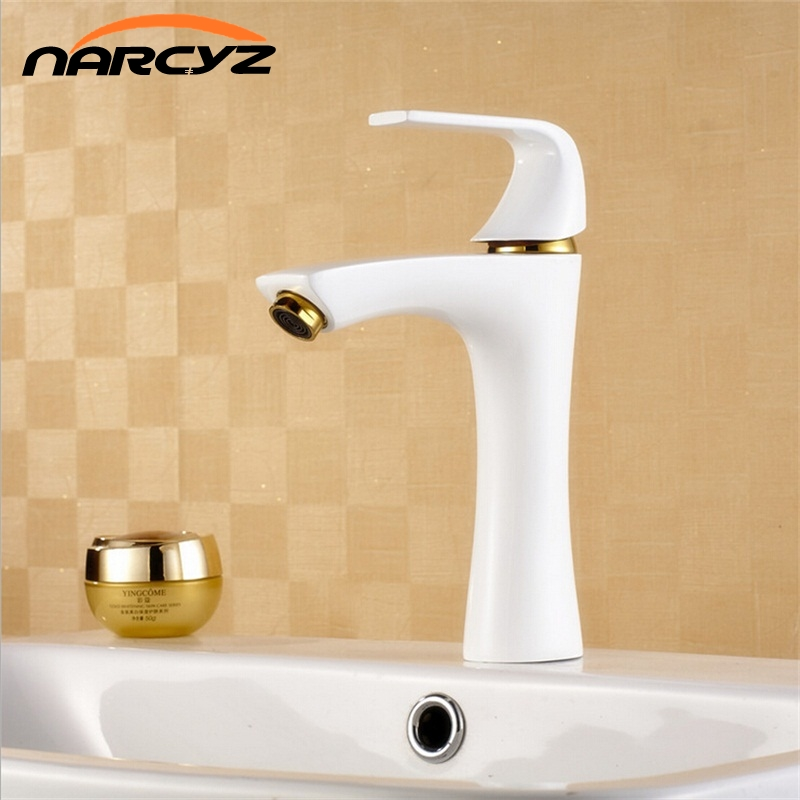 White Painted Waterfall Brass Faucets Bathroom Faucet Sink Basin Mixer Tap W3007 free shipping wine glass shape grilled white painted tall bathroom waterfall faucet fancy style white basin sink mixer tap w004
