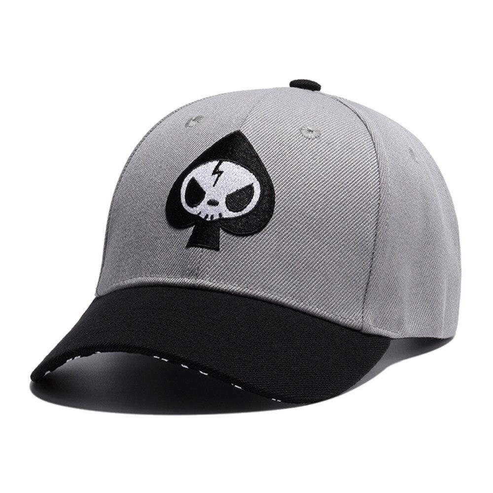 Jaunu vīriešu pokera lāpstiņu galvaskausa izšūšanas snapback vāciņš, Hip Hop Boy skelets beisbola cepure Lēti pelēkā kravas automašīna tētis Flat Bill cepures