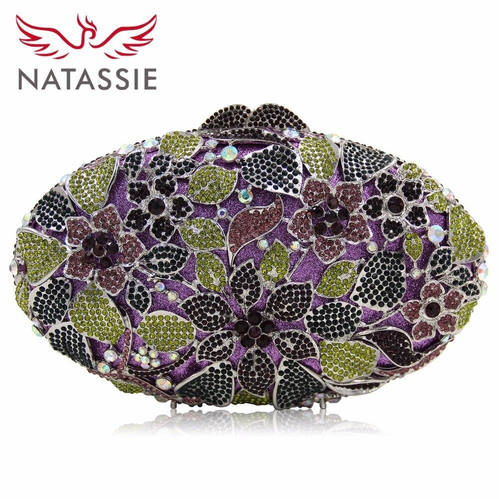 Natassie señoras de la manera shinning estilo de diseño floral del estuche rígid