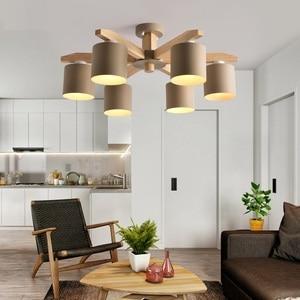 Image 3 - 現代のシャンデリアの照明北欧E27 鉄リビングルームのためのランプシェードsuspendsion照明器具lamparas木製光沢