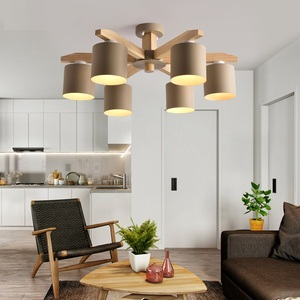 Image 3 - Modern Chandelier lighting Nordic E27 With Iron Lampshade For Living Room Suspendsion Lighting Fixtures Lamparas Wooden Lustre