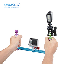 SANGER for Gopro Accessories Cnc Color Series Both Hands Holding Diving Dedicated Selfie Stick For Xiaomi Yi Go pro Hero5 4 3+ 3