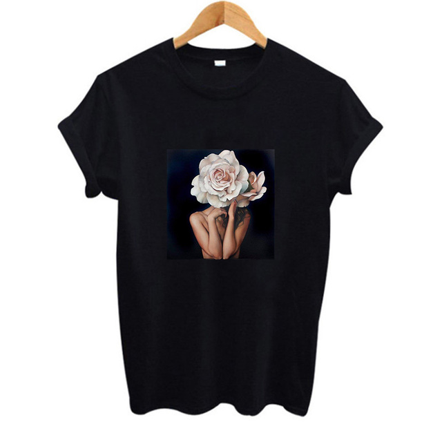 2019 קיץ חדש Harajuku אסתטיקה Tshirt סקסי פרחי נוצת הדפסה קצר שרוול חולצות & Tees אופנה זוג מזדמן T חולצה