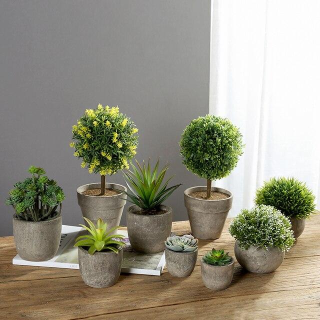Erythrina 바다 미니 화분 인공 즙이 많은 식물 분재 세트 가짜 꽃병 장식 꽃 홈 발코니 장식