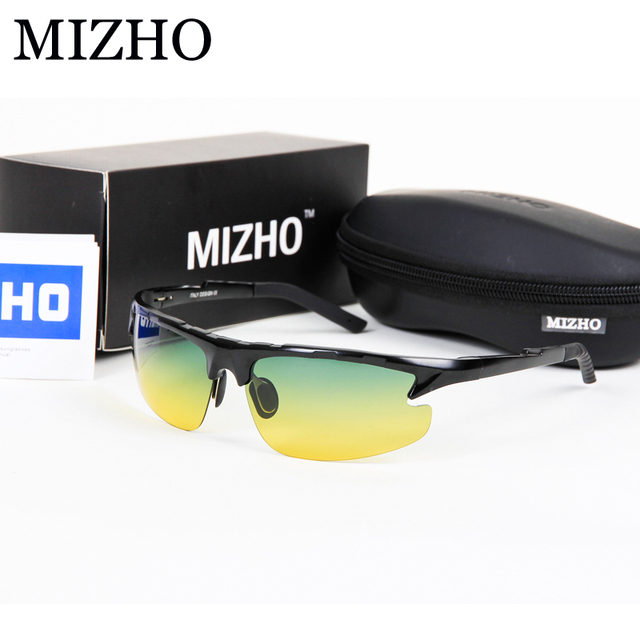 MIZHO Aluminium Frame Day&Night Use Enhance Brightness Security To Protect Eyesight Yellow Mens Polarized Sunglasses Driving