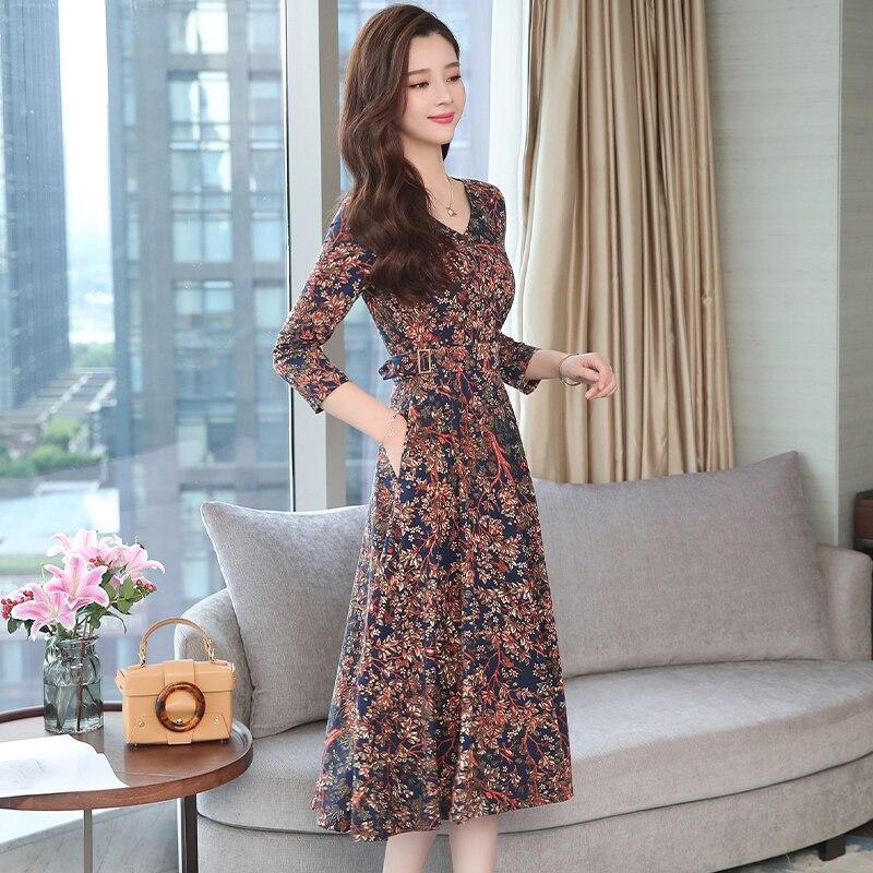 Autumn Winter New 3XL Plus Size Vintage Midi Dresses 2018 Women Elegant Bodycon Floral Dress Party Long Sleeve Runway Vestidos 3