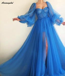 Image 4 - Romantic Blue Muslim Evening Dresses 2019 A line Sweetheart Long Sleeves Tulle Islamic Dubai Saudi Arabic Long Evening Gown Prom