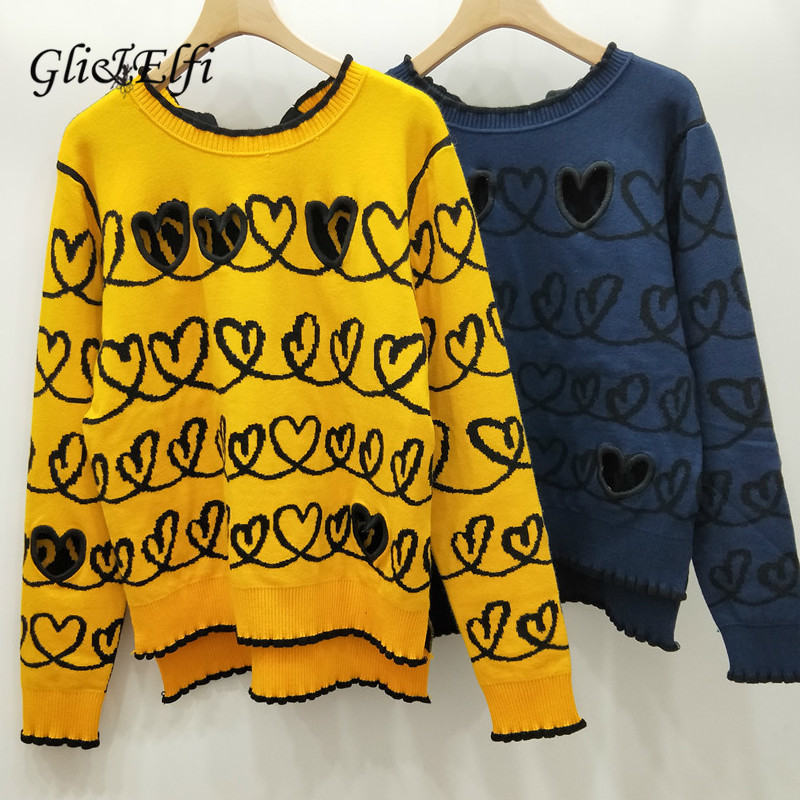 Women Pullover Sweater Love Jacquard 2018 Autumn Winter Hollow Out Knitted Tops Jumper Blue Yellow Pullover