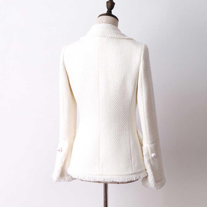 Beyaz tüvit ceket sonbahar ve kış kadın ceketi yeni yün trompet kollu bayan ceket ceket