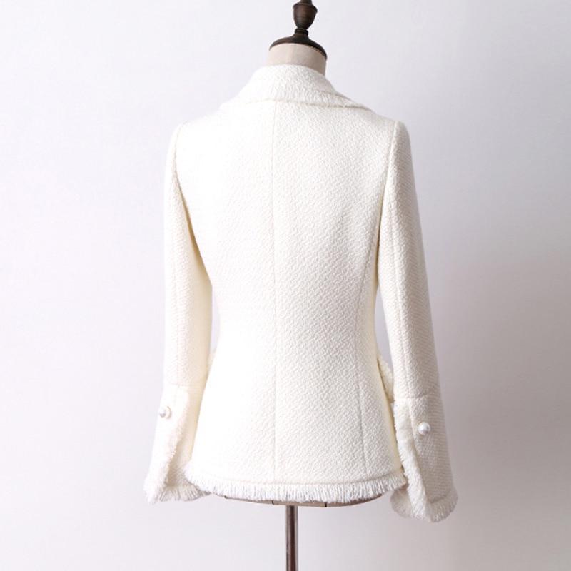 Manteau Pour De Et D'hiver Automne Trompette Femmes Veste Tweed Blanc Nouvelle Laine Femme Manches 7PqwtUSUn