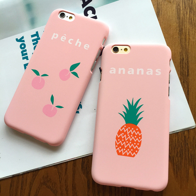separation shoes e35db 83e6f US $17.99 |Cute Cartoon Hard Case For Apple iPhone 5SE Case For iphone 5S 6  6S Plus Lovely Pink Fruits Peach Ananas Back Cover Phone Cases-in Fitted ...