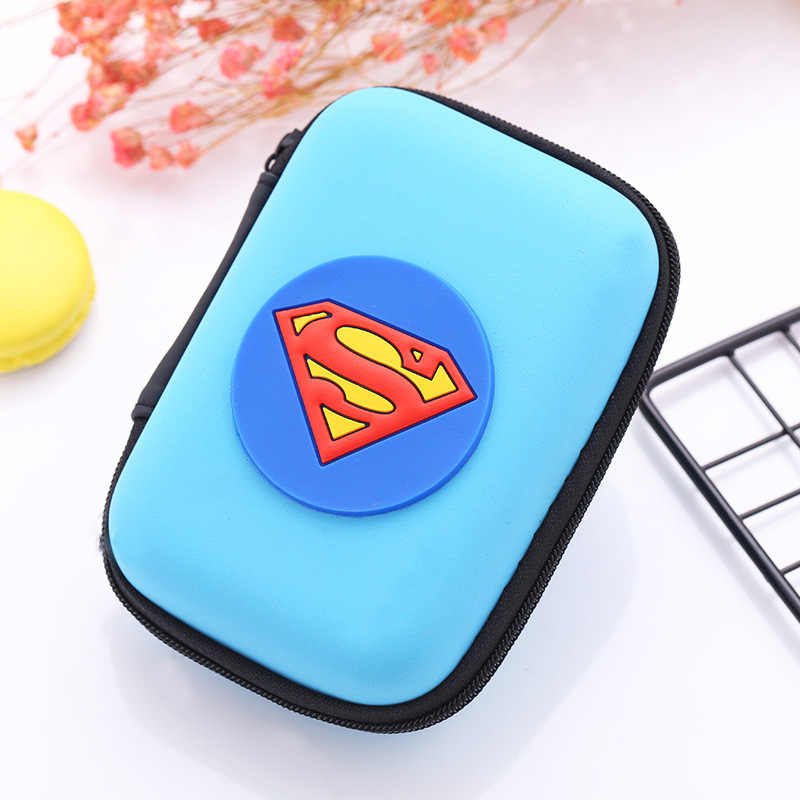 Anime Superman Wallet Cute Silicone Coin Purse EVA Zipper Key Headset Pouch Bags Box Mini Size Men Women Fashion Causal Wallets