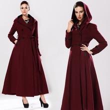 2016 Autumn Winter Casaco Feminino Ladies Double Breasted Wool Coat Women Plus Size 3XS-8XL Maxi Long Hooded Woolen Outwear