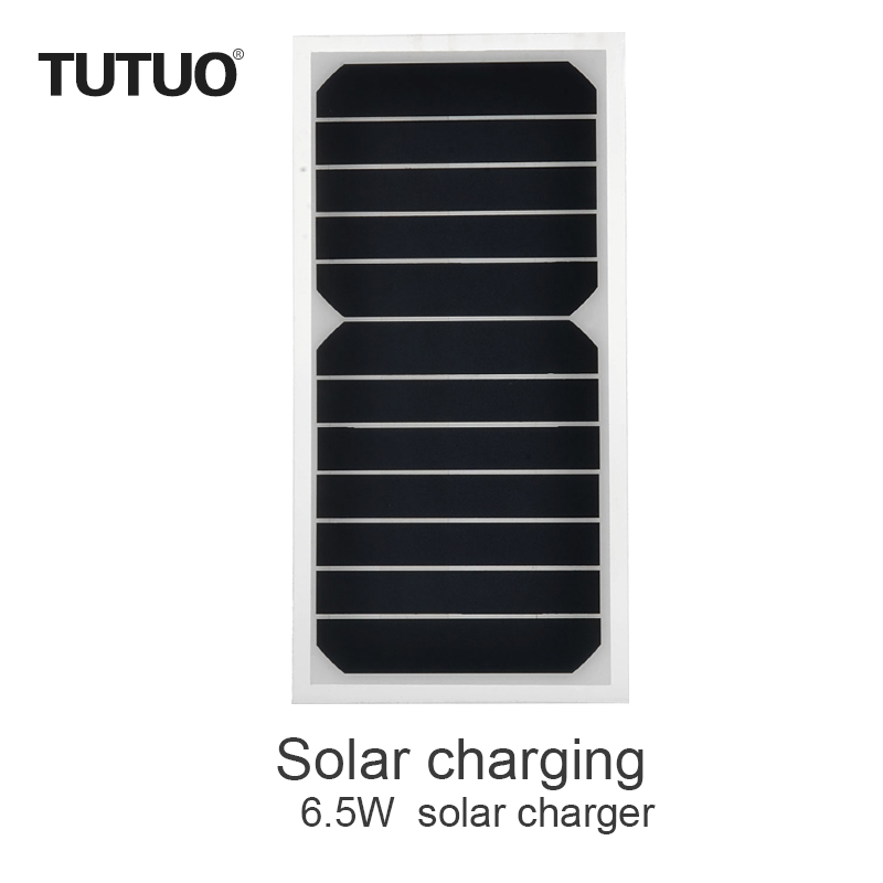 TUTUO 6.5W 5v 1A High Efficiency Sunpower Chip Solar Powered Battery Panel Board USB Mobile Charger for Apple IPhone/Samsung