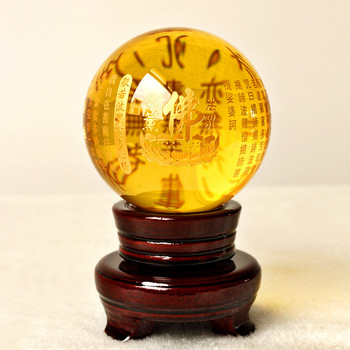 8CM -HOME Talisman efficacious Protection # Exorcise evil spirits Tibetan Buddhism lection FENG SHUI yellow crystal ball statue