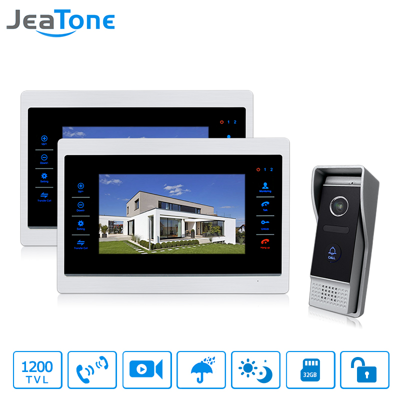 JeaTone Wired Doorbell Intercom Video 7  Touch-Button Video Door Phone1200TVL Security Cameras with 2 Monitor Video Intercom jeatone 10 hd wired video doorphone intercom kit 3 silver monitor doorbell with 2 ir night vision 2 8mm lens outdoor cameras