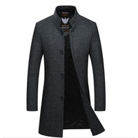 New Men's Fashion Pure Color Leisure In The Stand Collar Long Single breasted Woolen Cloth Dust Coat Mens Wool Blends Coat