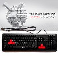 HOT Professional K200 Teclado com 104 Teclas USB Teclado Com Fio Preto para o Desktop Laptop Teclado Para Jogos Tipos Básicos