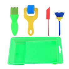 Dzieci DIY losowo mazać z tacy szczotka gąbka 5 pcs zestawy z uchwytem z tworzywa sztucznego malarstwo połączenie szczotki narzędzia malarskie tanie tanio Zhouxinxing Plastics + Sponge colour 60g sets