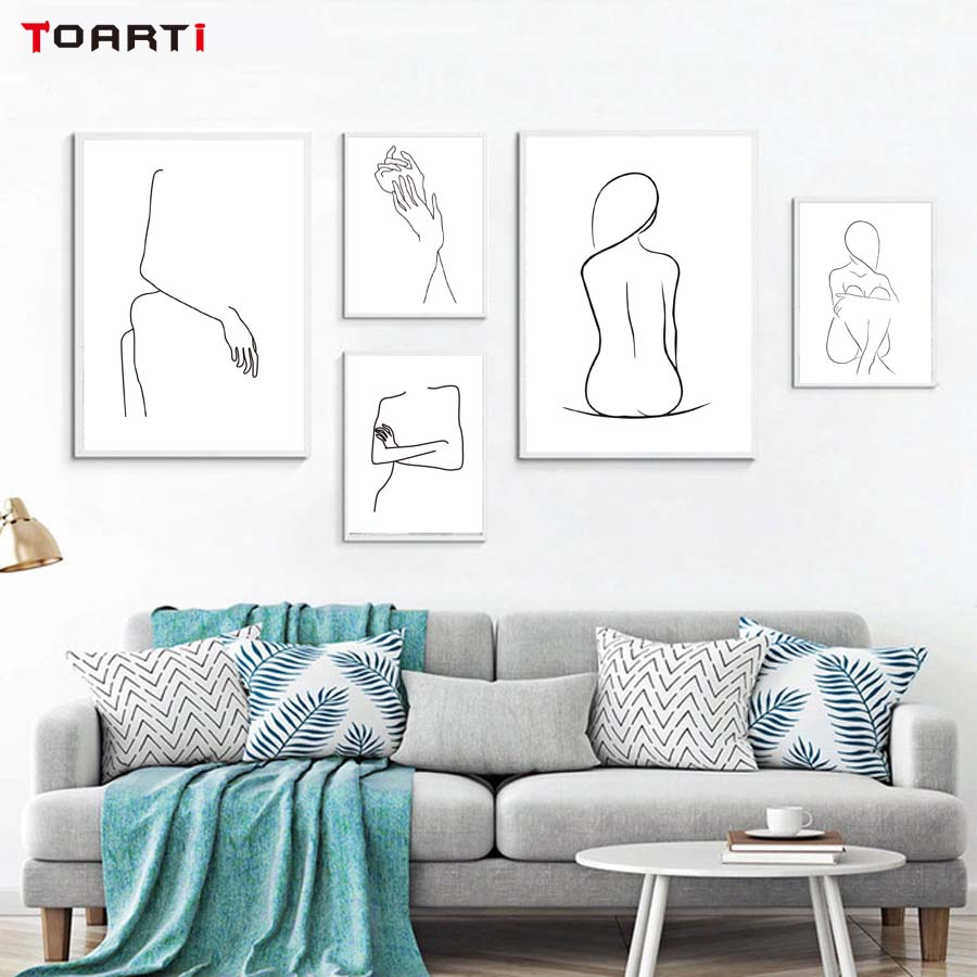 Abstract Lady Body Line Drawing Poster&Prints Simple Sexy Women Canvas Painting On The Wall For Living Room Home Decorative Art
