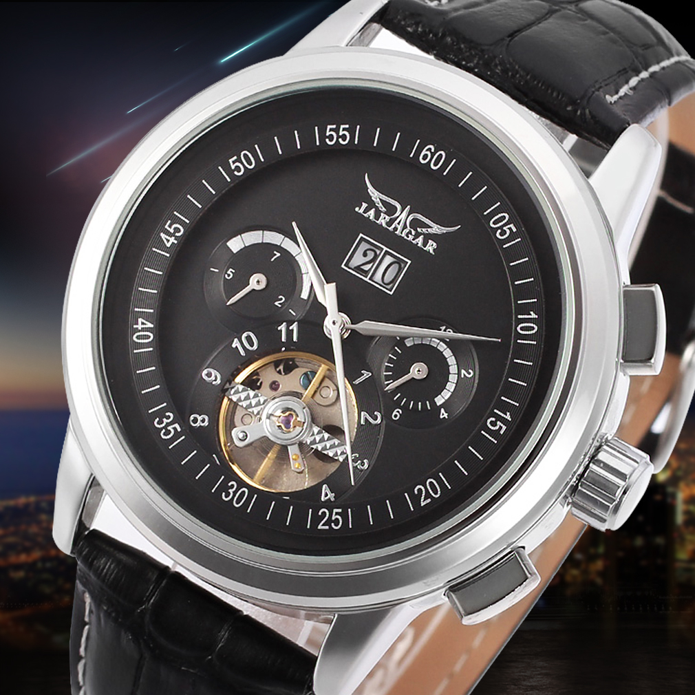 лучшая цена Jargar Genuine Leather Automatic Watch Men Leather Watch Best Gift Top Quality