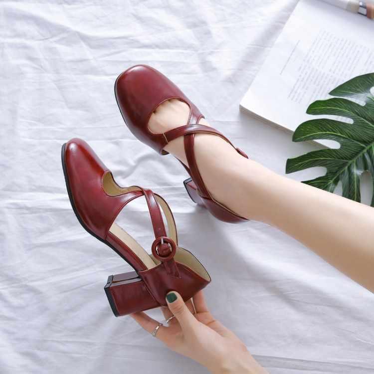 Size Lớn Cao Gót Nữ Giày Nữ Người Phụ Nữ Mùa Hè Nữ Cao Gót Mang Phong Cách Retro Dày Gót