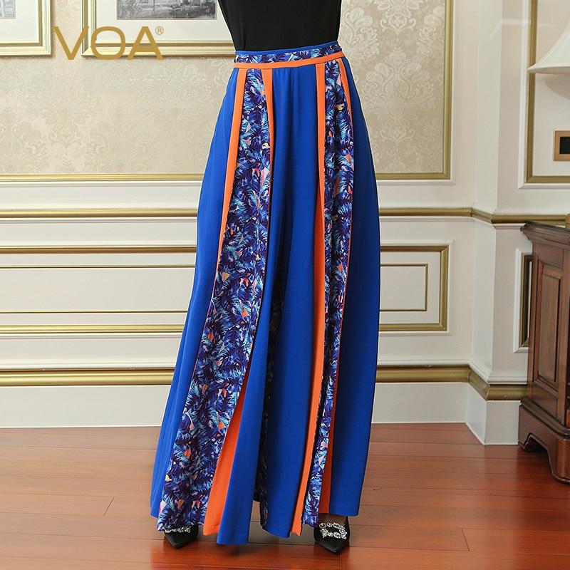 VOA Heavy Silk Plus Size 5XL Loose Casual Long Trousers Women   Wide     Leg     Pants   Blue Boho Print Mid Waist Slant Pocket KLA00901