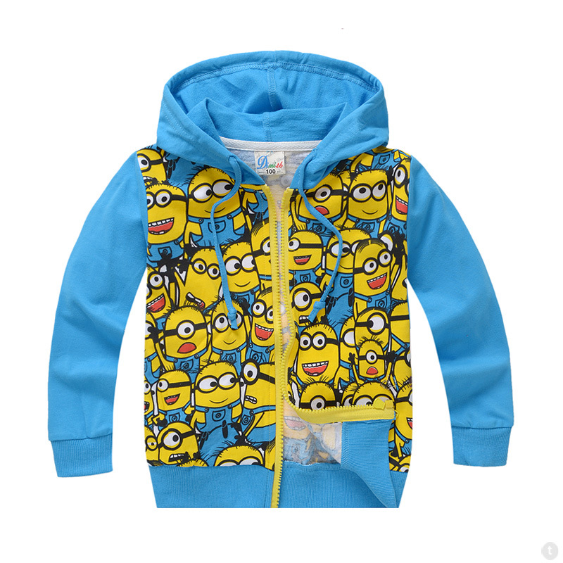 New Arrival Minions despicable me Boys Clothes Spring Autumn Hoodie brand Kids Boys Jacket /boys coats and jackets 1pcs 92 65cm cute minions mylar balloons despicable me 2 giant foil balloons cartoon kids balloon toys