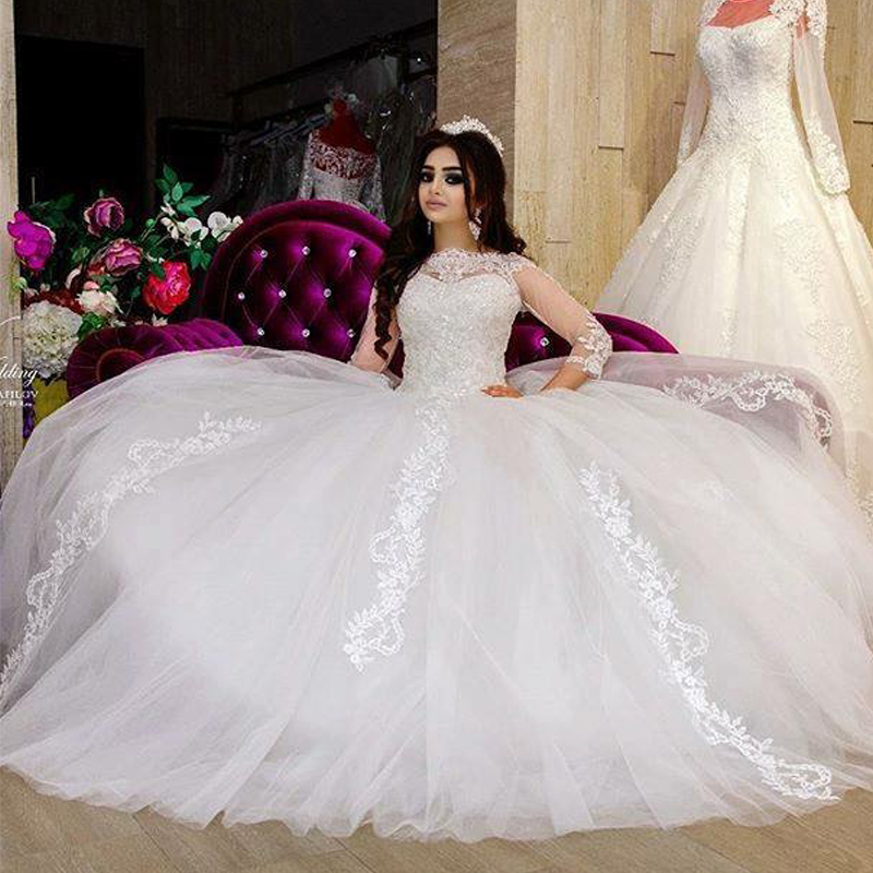 3/4 Sleeves Vestido De Noiva Muslim Wedding Dresses Ball Gown Tulle Lace Plus Size Boho Dubai Arabic Wedding Gown Bridal
