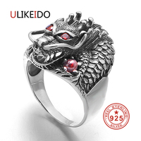 S925 Sterling Silver Jewelry Dragon Rings With Garnet Natrual Stone Red Eyes Thai Silver Punk Mens Signet Ring Birthday Gift 693