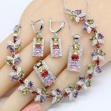 여성을위한 여러 가지 빛깔의 큐빅 지르코니아 실버 컬러 웨딩 쥬얼리 세트 팔찌 귀걸이 목걸이 펜던트 반지 무료 선물 상자