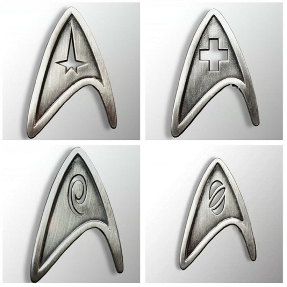 Set 4 Star Trek Badge Pin Medical Cross Insignia Badge Starfleet Command Division Engineering Badge Brooches Pin Prop