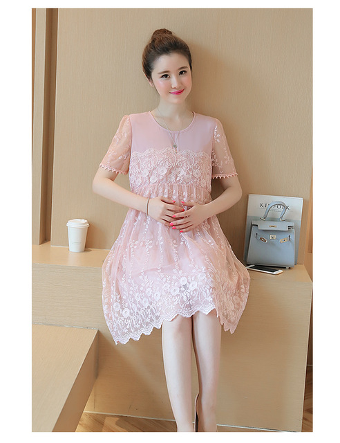 Maternity Clothes Fashion Summer Lace White Dress For Pregnant
