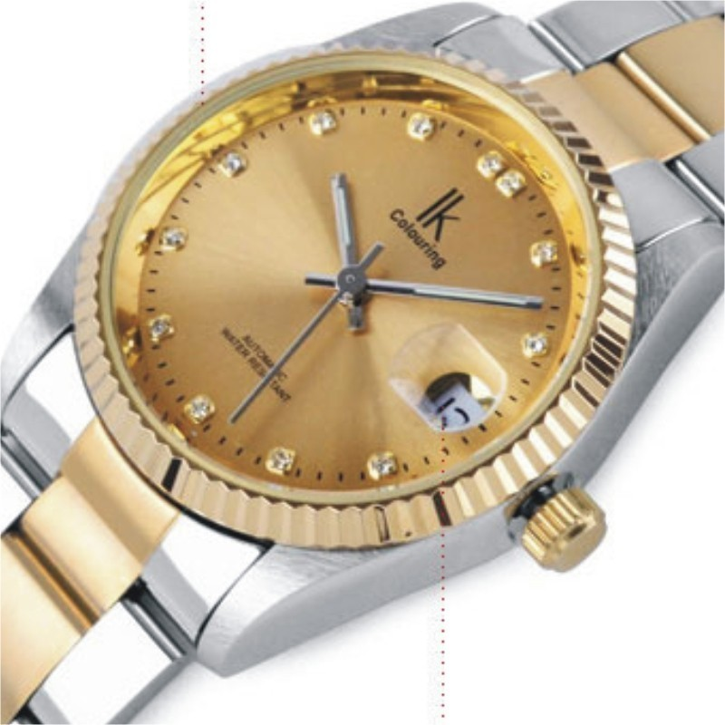 Ik for gold steel strip calendar automatic mechanical watch vintage mens watch male casual watch