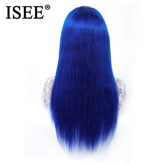 ISEE HAIR Straight Lace Front Wig Pre Plucked 150% Density Blue /Pink/613 Blonde Straight Lace Front Human Hair Wigs For Women