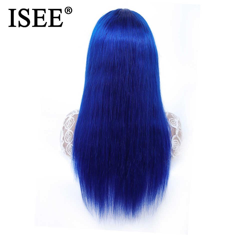 Peluca frontal de encaje recto de ISEE con pelo de bebé rosa/613 pelucas de cabello humano frontales de encaje Rubio peluca frontal de encaje azul Remy