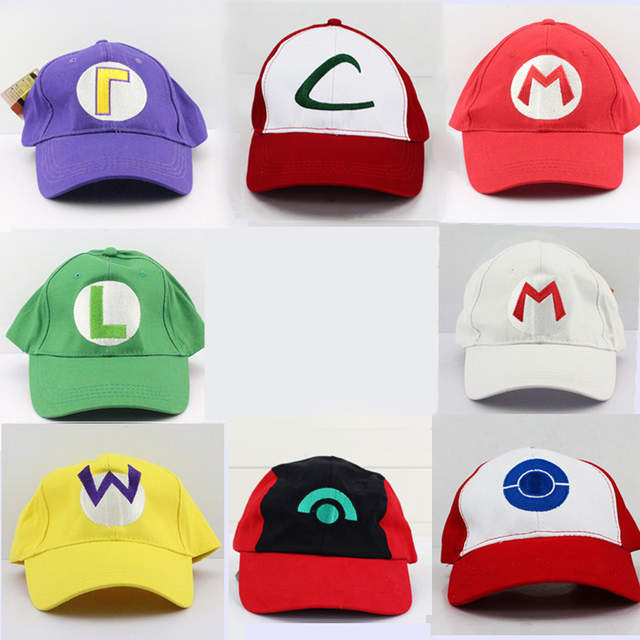 0456b66344e Super Mario Hats Anime Ash Ketchum Mario Luigi Waluigi Cosplay Mesh Hat Cap  for Adult Size