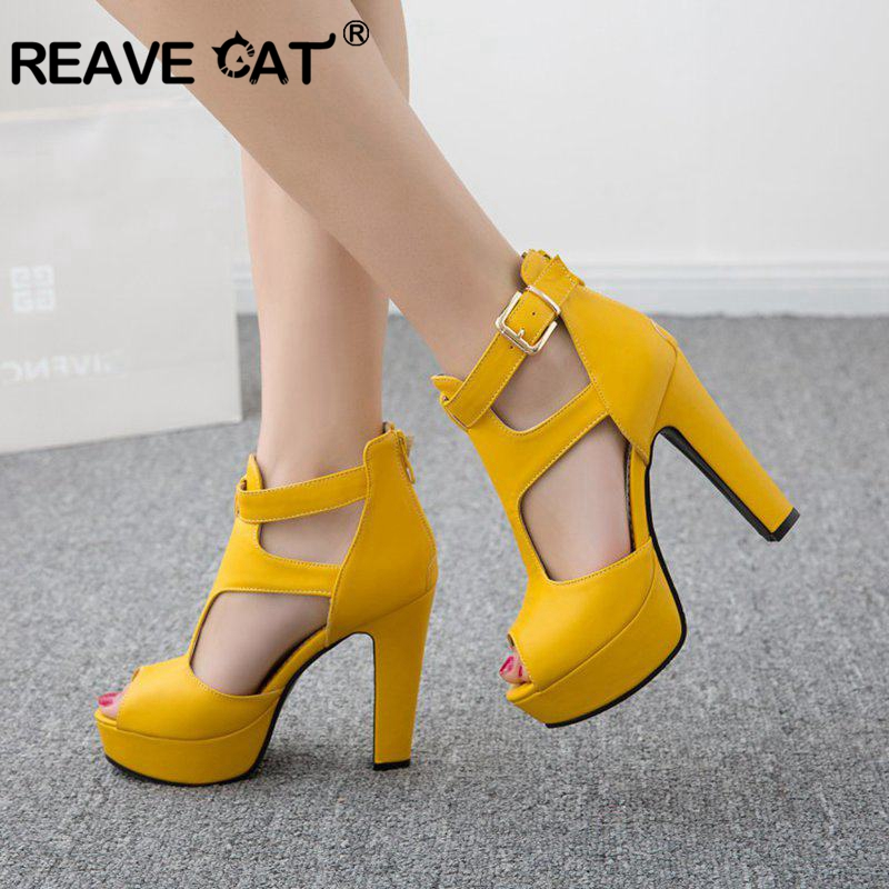REAVE CAT Women Pumps High Heels Platform Shoes Peep Toe Buckle Spring Spike Heels Ladies Party Shoes Yellow Size 34 43 A1102